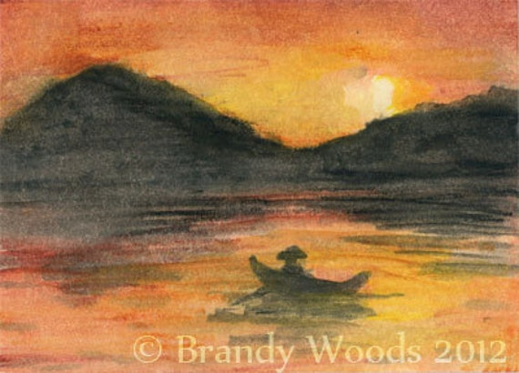 Sunset on the Lake Landscape mountains Watercolor Painting SFA ACEO Brandy Woods