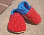 Baby Shoes in Blue and Red Polka Dots for Boy or Girl - Custom Sizes 0-3 3-6 6-12 12-18 18-24 months