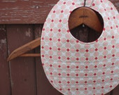 Baby Bib for Girl - Reversible - Red and Green and Pink and White Polka Dot & Dark Red Swirl Pattern - Washable