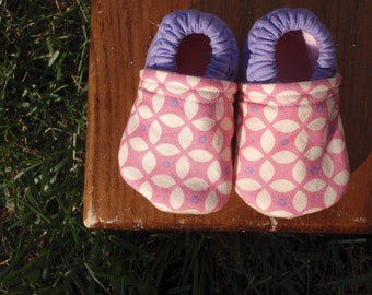 Baby Shoes for Girl - Pink and Purple and Cream Modern Flower Print - Custom Sizes 0-24 months 2T-4T by little house of colors