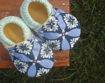 Baby Shoes for Girl - Mint Green and Periwinkle Purple with Navy Blue and Yellow - Custom Sizes 0 3 6 12 18 24 months