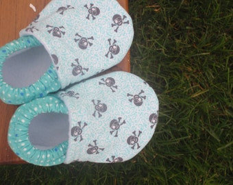 Baby Shoes for Boys - Grey/Gray Pirate Skulls with Teal Blue and White Retro Dot Print - Custom Sizes 0-24 months 2T-4T