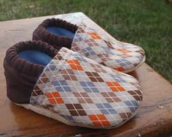 Baby Shoes for Boys - Brown, Blue and Orange Argyle - Custom Sizes 0-3 3-6 6-12 12-18 18-24 months 2T-4T
