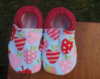 Baby Girl Shoes - Red and Pink Strawberry Print with Green and Blue - Custom Sizes 0-24 months