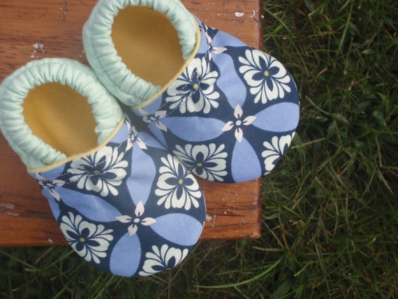 Baby Shoes for Girl - Mint Green and Periwinkle Purple with Navy Blue and Yellow - Custom Sizes 0 3 6 12 18 24 months 2T 3T 4T