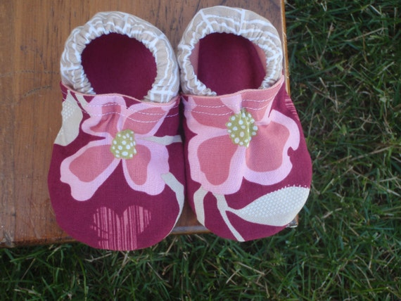 Baby Shoes for Girls - Pink and Taupe Flower and Herringbone Prints - Custom Sizes 0-24 months