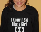 Long Sleeve T-Shirt - I Ski Like a Girl - black diamond