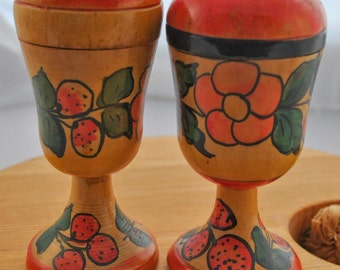 Salt and Pepper Shakers, Russian, hand-painted wood shaker set