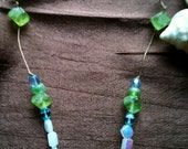 Dainty Beaded Necklace - Jewelry - Glass Vial Pendant Filled with Green and Blue Seed Beads
