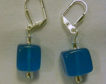 turquoise glass cube earrings