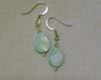 aqua mother of pearl teardrop earrings