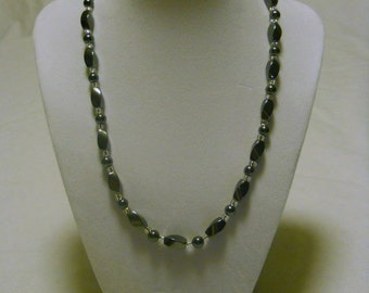 hematite twisted oval necklace