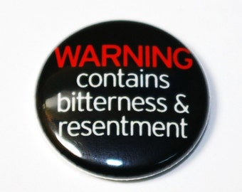 Warning -  1 inch Button, Pin or Magnet