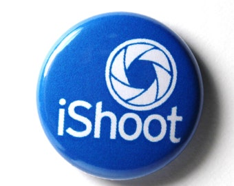 Blue iShoot Button : 1 inch PIN or MAGNET