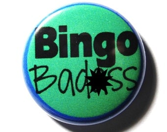 Blue and Green BINGO Button  - PIN or MAGNET