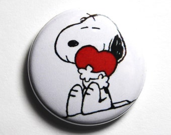Snoopy Love, I love Snoopy - 1 inch PIN or MAGNET