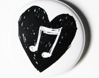 Music Love, Musical Notes, Heart - 1 inch Button, PIN or MAGNET