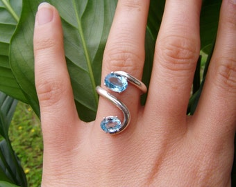 double stone synthetic blue topaz wave silver ring