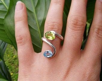 sea goddess ring - synthetic peridot, synthetic blue topaz, silver