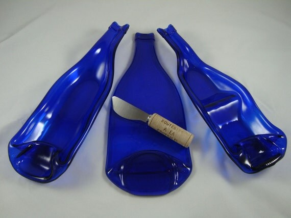Valentine's  Sale - Big Discounts  - Cobalt Blue 3- piece Flat/Slumped Wine Bottle set w/cheese spreader