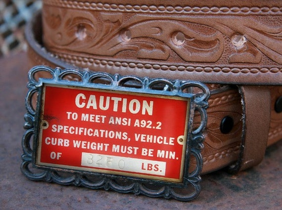 Belt Buckle CAUTION Vehicle Custom Made Belt Buckle - 3 x 2 Rectangle - Hearts Detailing with Rust Finish Rustic gifts for men man woman