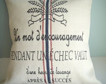 "CLEARANCE- 20x20 Pillow Cover-""A Word Of Encouragement During Failure Is Worth More Than An Hour Of Praise After Success"""