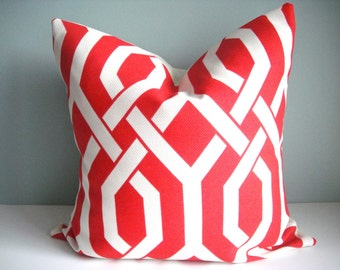 Indoor/Outdoor 18x18 Designer Pillow P Kaufmann In Slick Trellis In Claret,Decorative Pillow Cover,Same Fabric On Both Sides