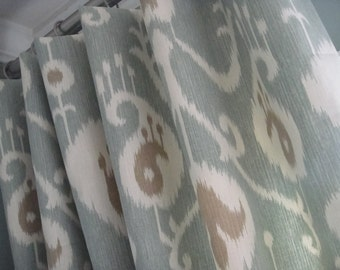 A Pair Of Flat Panels  On Clip Rings /Rod Pocket Draperies In Ikat Spa Available in Different Lengths, Draperies, Curtains