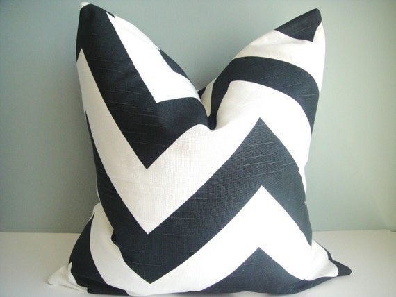 SET OF TWO-16x16 Designer Pillow In Zippy Charcoal Black /White Contemporary Print Front and Back