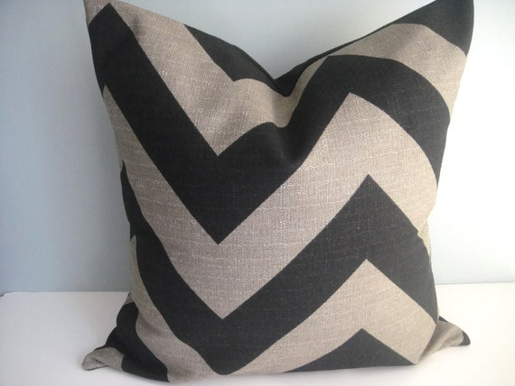 SET Of TWO -20x20 Designer Pillow In Zippy Stone Black Contemporary Print