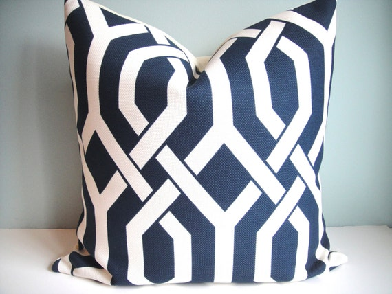 Reserved Listing for Julie- Three18x18 Designer Pillow P Kaufmann In Slick  / Navy Both Sides