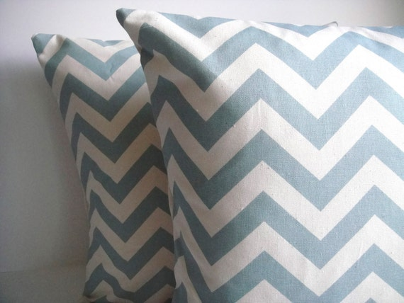 Decorative Pillow Cover In Chevron Blue/Natural On Both Sides, Thro Pillow, Available In Different Sizes