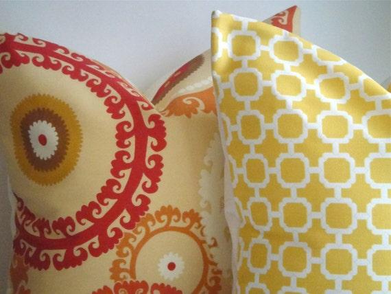 SET OF TWO Coordinating Indoor/Outdoor 20x20 Designer Pillow