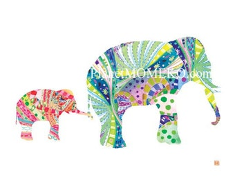Elephant  daddy  and baby girl -elephant nursery art, elephant print, elephant watercolor, father's day gift