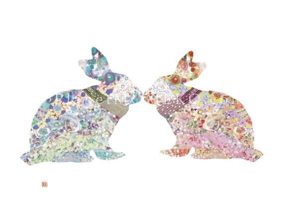 Kissing Bunny-Happy Valentine's  - 8.5x11 lovely and super cute Fine Art giclee print. Easter art, Family Art, Modern nursery art.