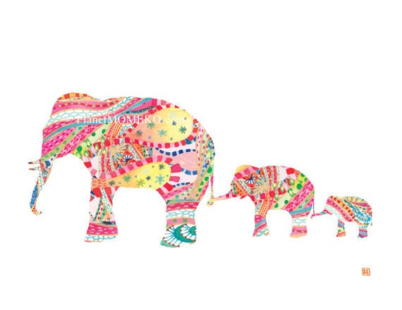 Elephant mother and two baby elephants in tropical pink- nursery for boys, nursery for girls, print