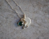 Initial and Birthstone Necklace (Sterling Silver) - great for bridesmaids