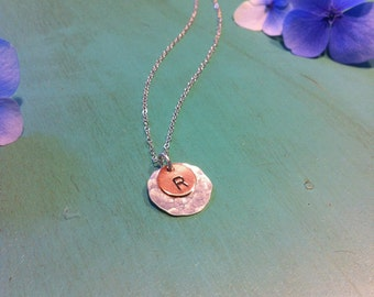 """Sterling Silver and Copper """"Copper Drop"""" Initial Necklace"""