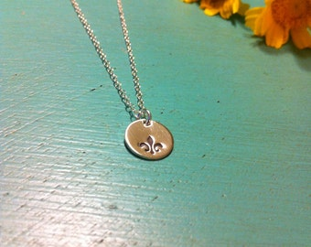 Tiny Sterling Silver Fleur De Lis Necklace