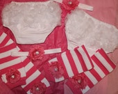 Reserved listing For the ADORABLE Twin Baby Girls Leg Warmers Bloomers and Headband Set