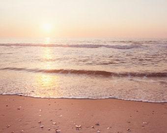 "Beach Photography, sunrise ocean landscape print sea seashore cream waves wall photo beige peach - 11x14, 8x10 Photograph, ""A New Beginning"""