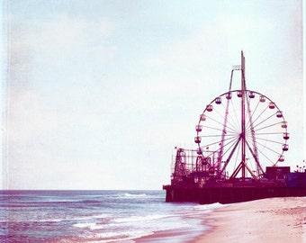 "Beach Photography - nursery art ferris wheel carnival coastal seashore purple wall art prints baby shore photo - 8x8 Photogaph, ""Summer Fun"""