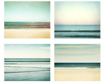 Ocean Photography Set - Four 8x10 Photographs, horizon beach sea seascape teal mint green turquoise aqua pastel seashore wall art print