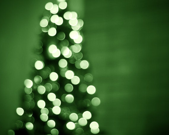 Green Christmas Photography - tree holiday decor bokeh lights sparkle print sparkly photograph circles christmas decor green white wall art