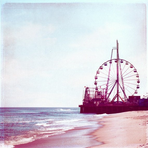 "Beach Photography - nursery art ferris wheel carnival coastal seashore purple wall art prints baby shore photo - 8x8 Photogaph, ""Summer Fun"""