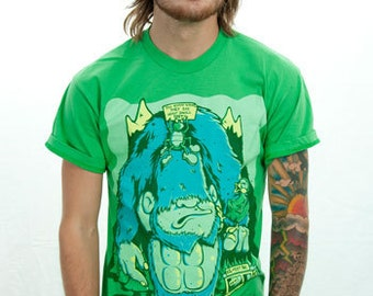 Punk Graphic tee - Green American Apparel Unisex T Shirt XS M