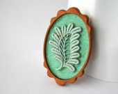 Mint Green Vintage Lace Leaf on Mint  Felt Wooden Brooch, Lace and Mahogany Series