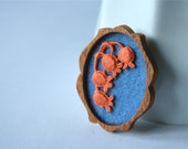 Orange Lace Flowers on Blue Brooch, Mahogany and Lace Series
