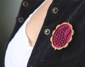 Rich Plum Purple Lace and Felt Wooden Brooch, Lace and Mahogany Series