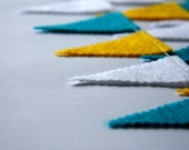 Felt Bunting Garland in Turquoise Yellow and White